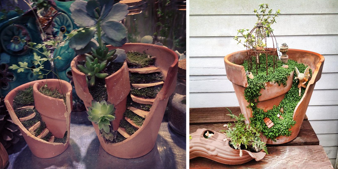 Broken Pots Turned Into Brilliant Fairy Gardens
