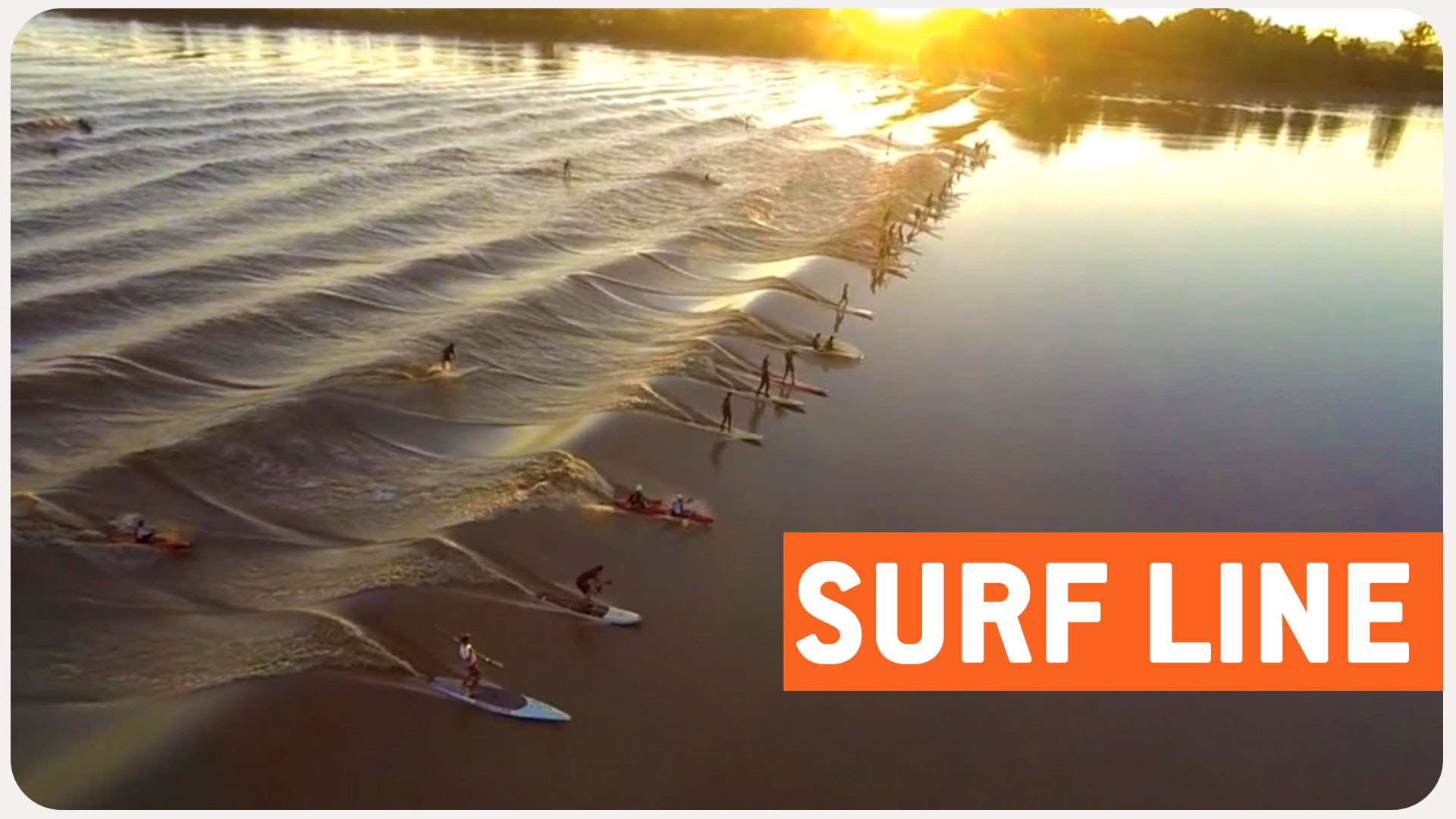 Amazing surfers on a tidal wave aftermath