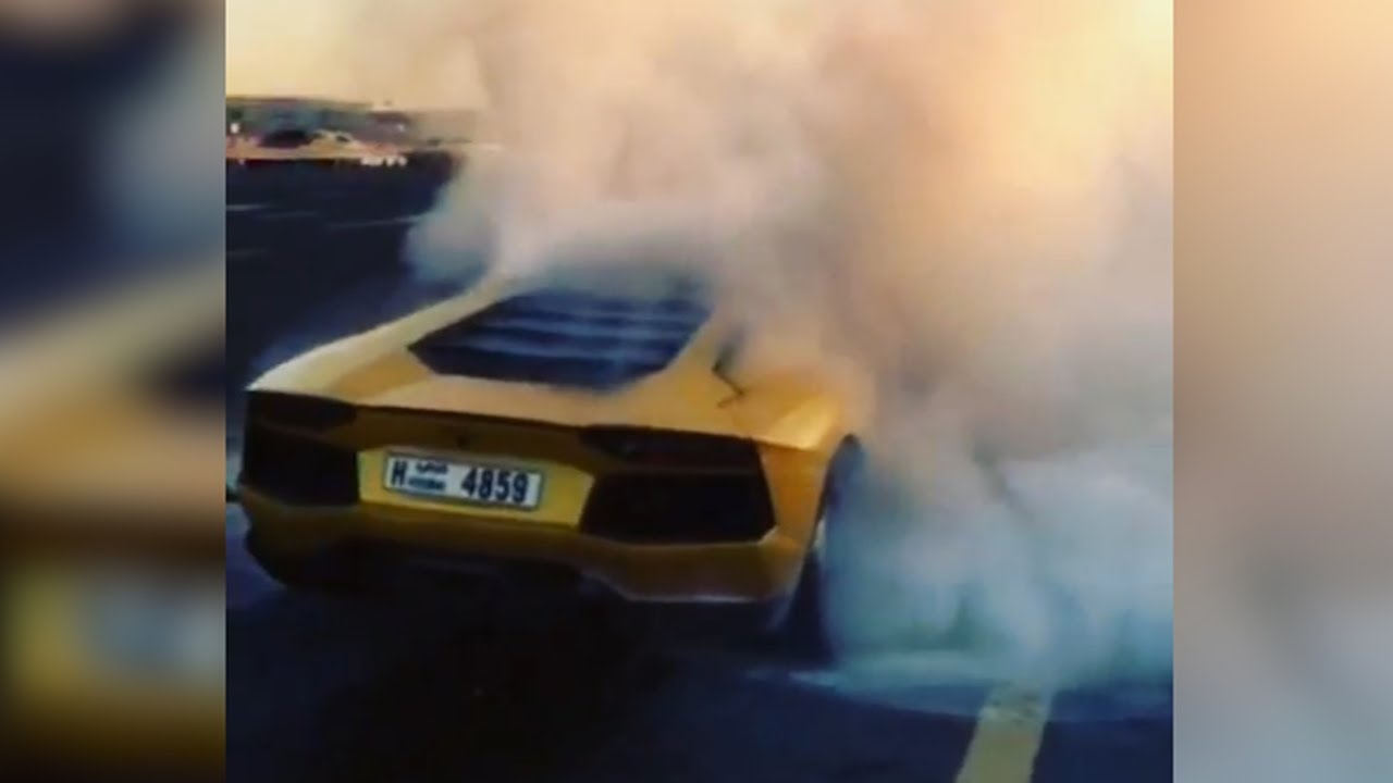 Aventador on fire… literally
