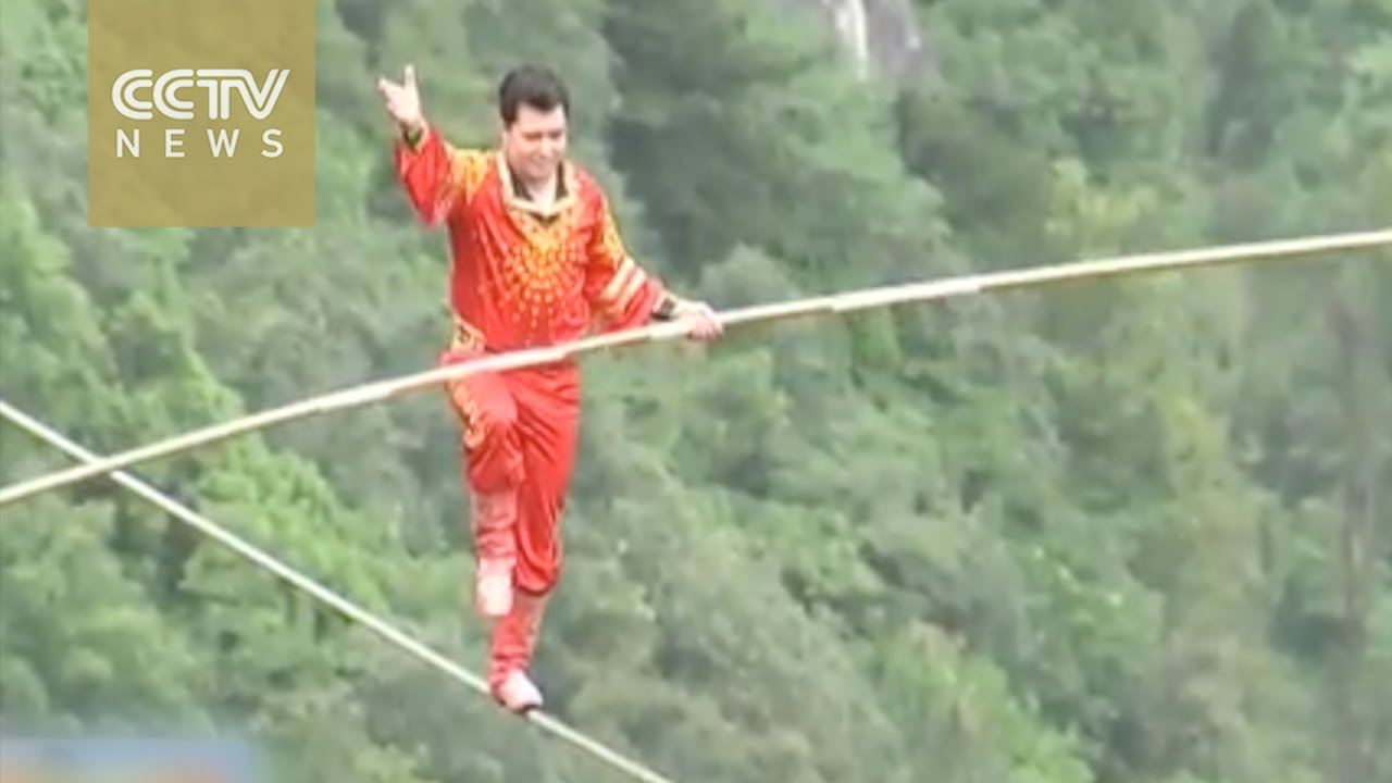 Walking on rope 300 meters above ground
