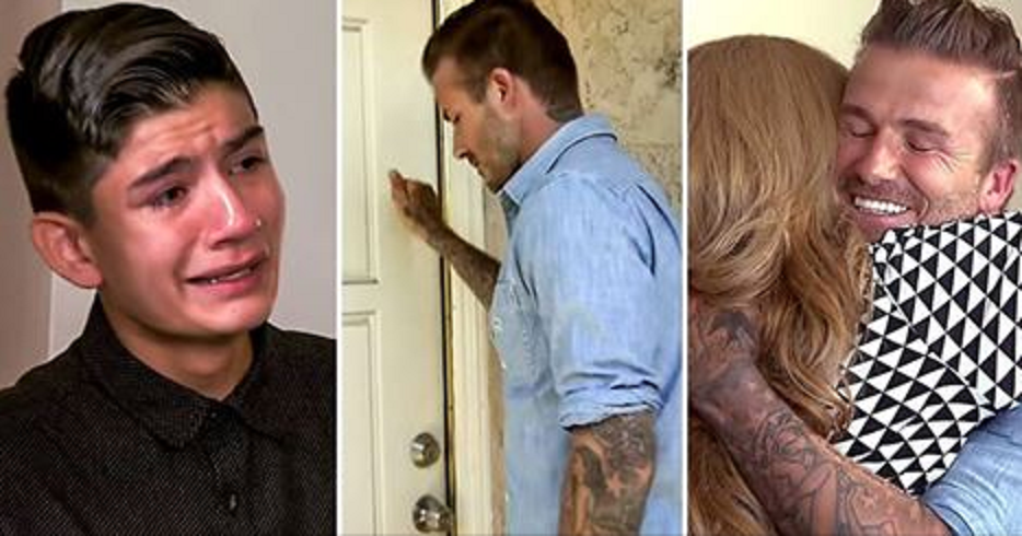 David Beckham knocks on a poor family's door to give them a $100k cheque