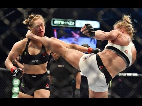 Incredible MOMENT Holly Holm takes Ronda Rousey to the carpet !!!!