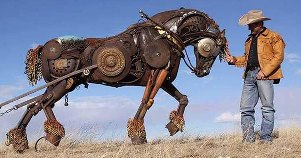 Artist transforms old farm equipment into incredible animal sculptures like none you've seen