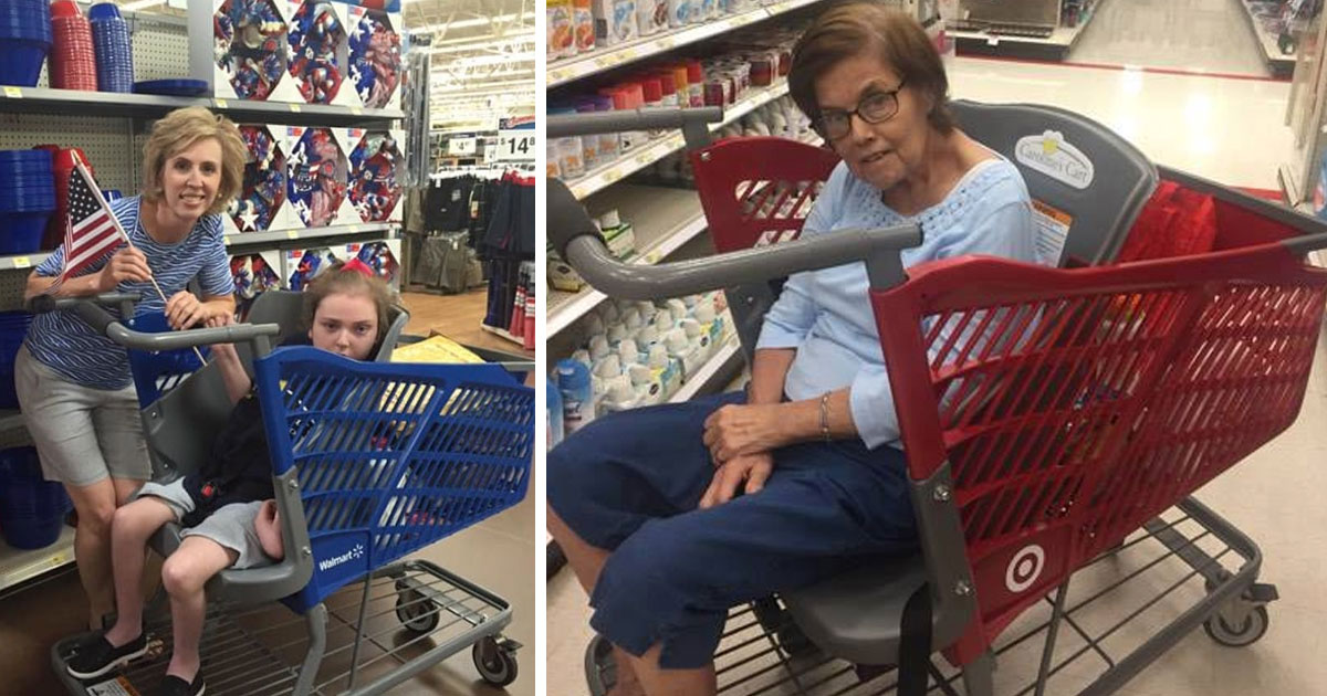 Clever mom invents special shopping cart that helps seniors and special needs children
