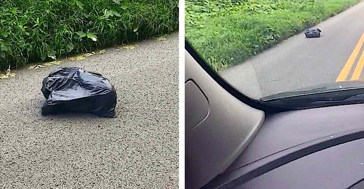 Mom Sees This Trash Bag 'Walking' Down The Road, Then Rips It Open